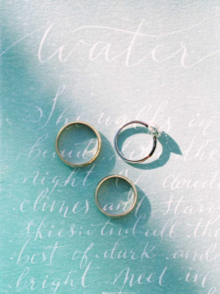 Wedding rings and calligraphy photography