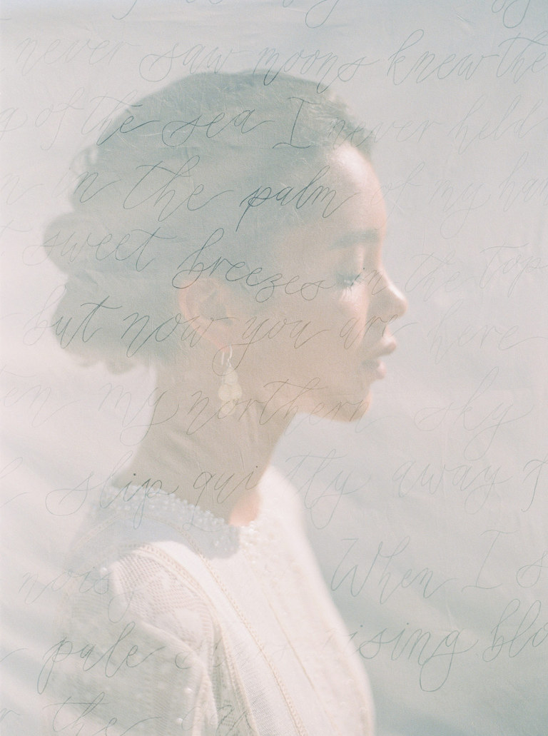 Double exposure dreamy wedding portrait