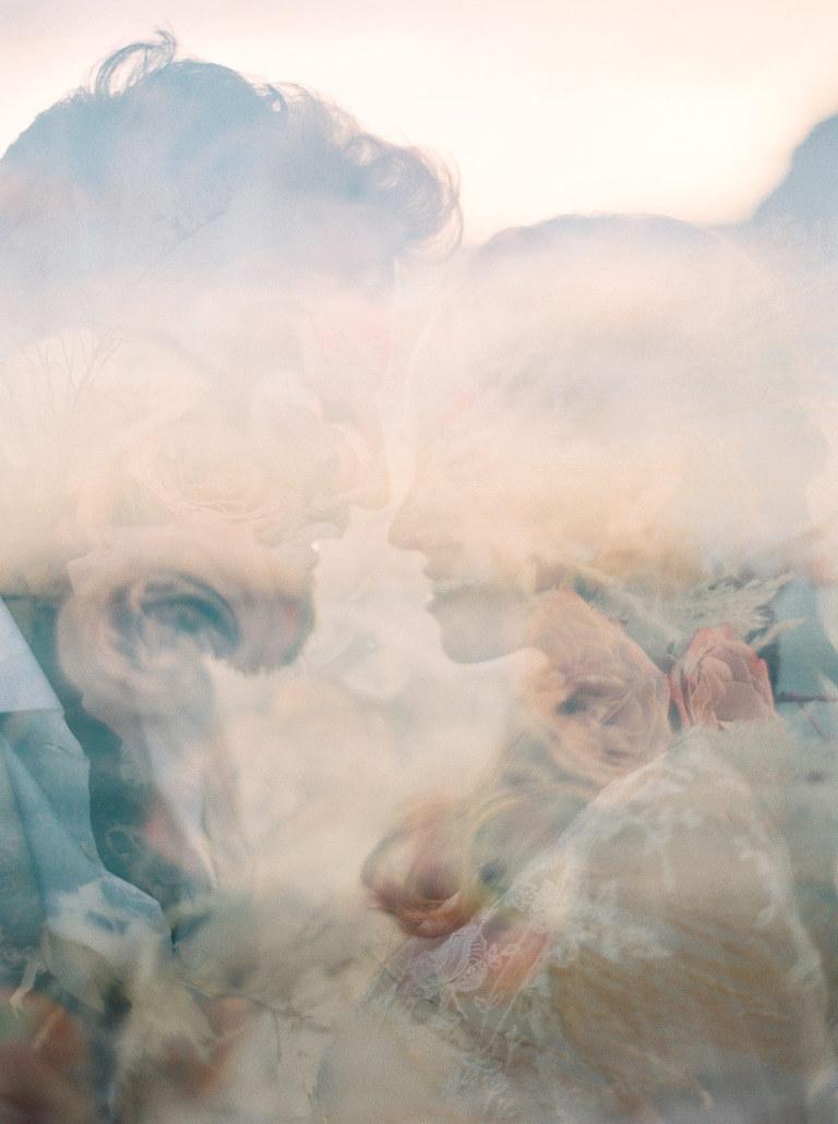 Double exposure portrait on film, bali