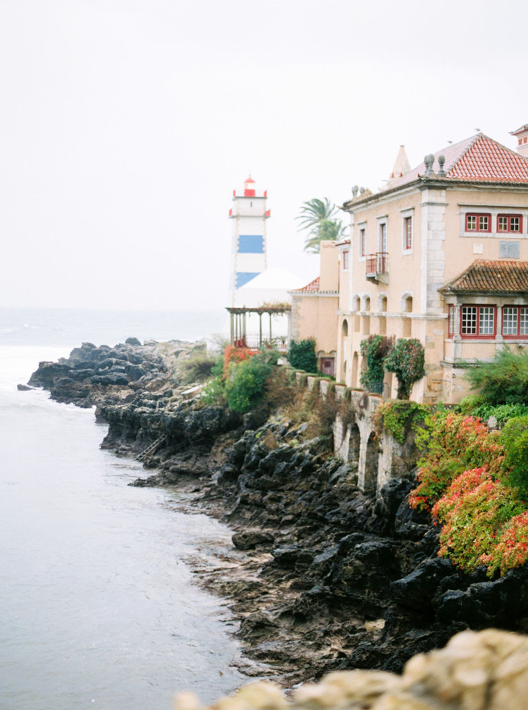 Cascais, Portugal, lighthouse and coast on wedding day on film