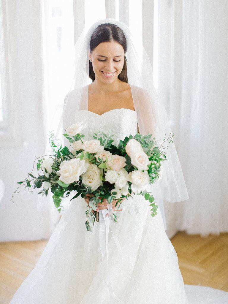 Beautiful bride getting ready in Prague